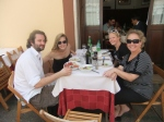 My brother and I having lunch in Rome with family friends