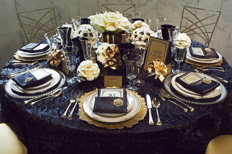 Great gatsby table setting themed party the starlit path for Art deco party decoration ideas