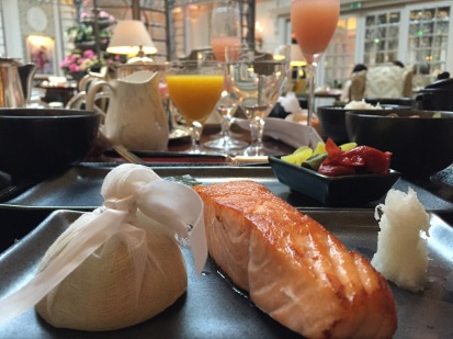 Grilled salmon for breakfast inLondon